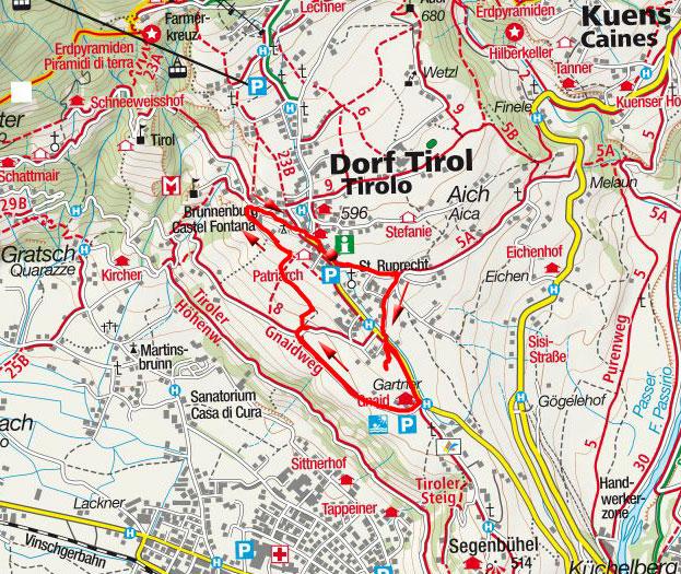 Weinweg in Dorf Tirol