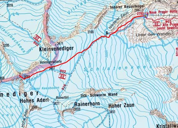 Großvenediger (3666 m) von der Neuen Prager Hütte