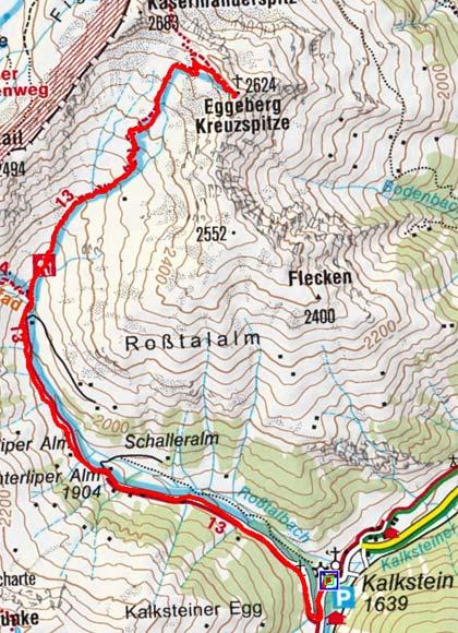 Kreuzspitze (2624 m) von Kalkstein