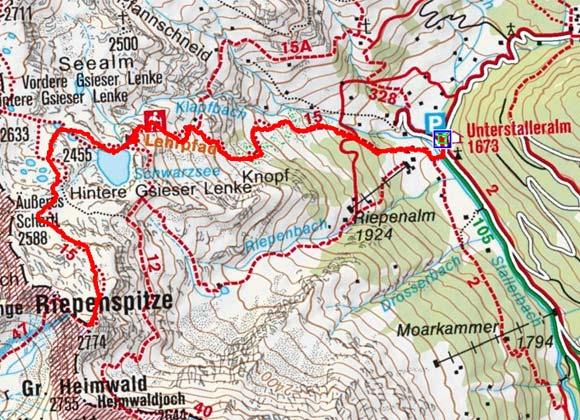 Riepenspitze (2774 m von der Unterstalleralm