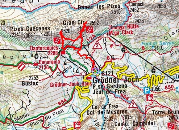 Kleine Cirspitze-Große Cirspitze (2520/2592 m) vom Grödner Joch