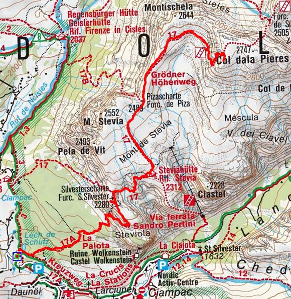 Col dala Pieres (2747 m) vom Parkplatz Daunei