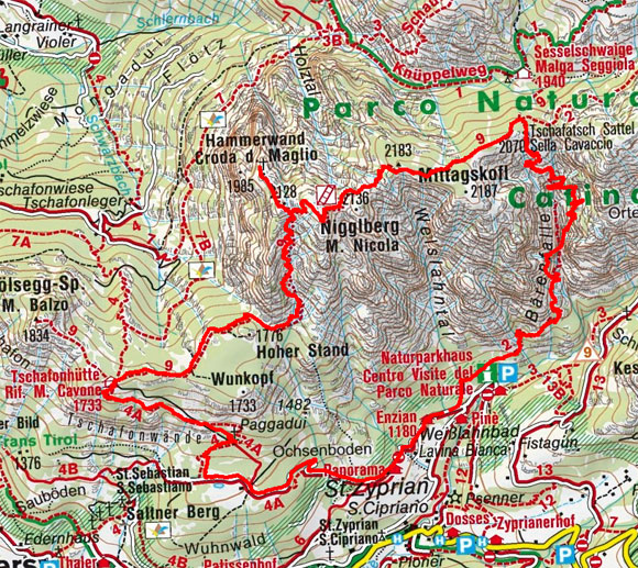 Bärenfalle–Hammerwand–Tschafon Rundtour
