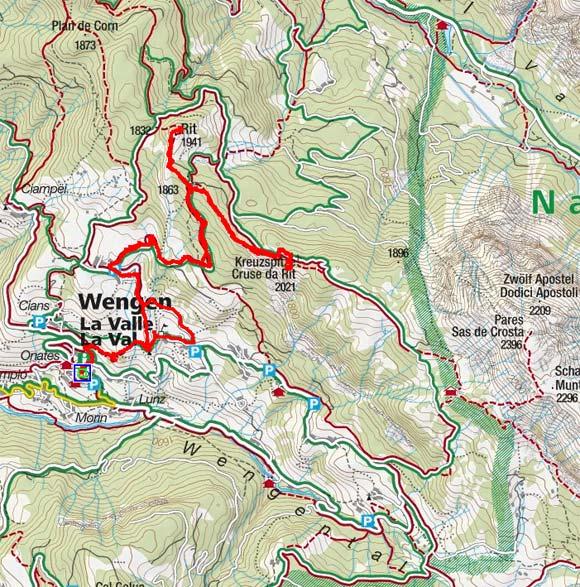 Kreuzspitze - Crusc da Rit (2027 m) von Wengen