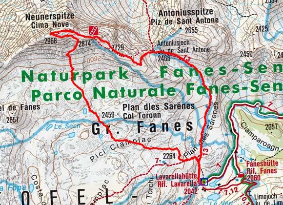 Neunerspitze (2968 m) von der Lavarellahütte