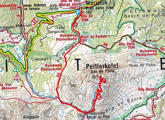 Peitlerkofel (2875 m) vom Würzjoch