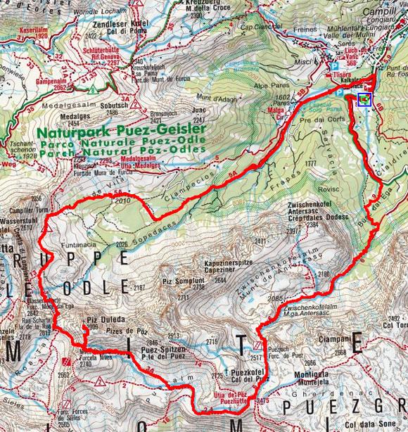 Piz Duleda (2909 m) von Campill