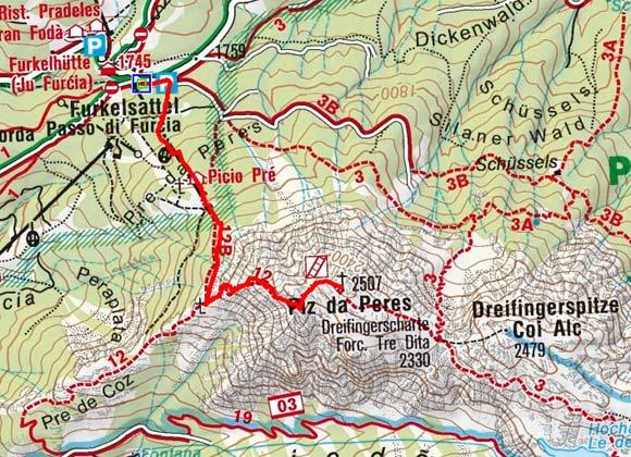 Piz da Peres (2507 m) vom Furkelsattel