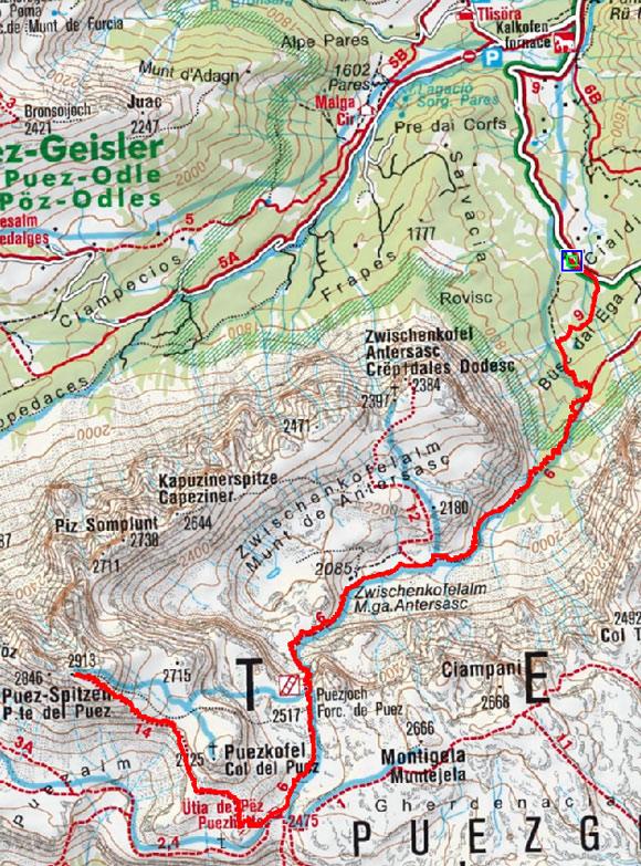 Östliche Puezspitze (2913 m) von Campill