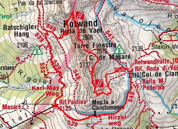 Rotwand - Masare Klettersteig (2806/2727 m)