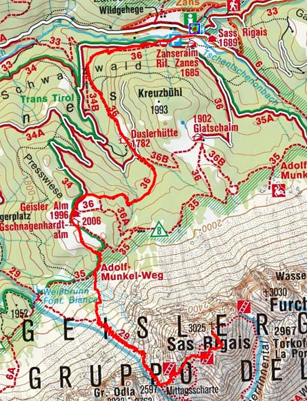 Sass Rigais (3025 m) von der Zanser Alm