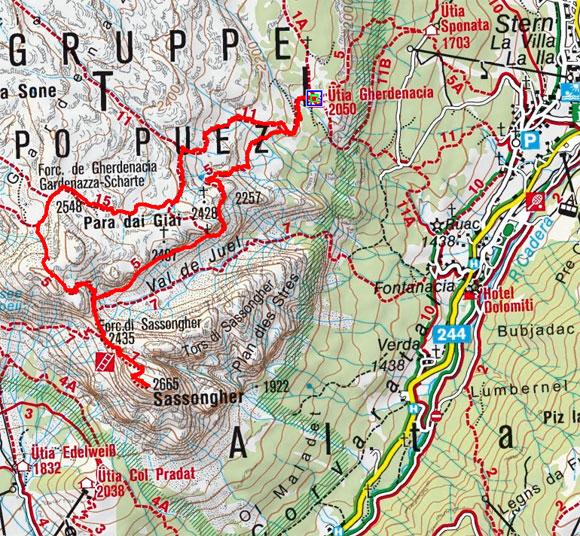 Sassongher (2665 m) von der Schutzhütte-Gardenacia