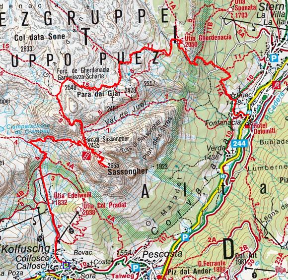 Sassongher–Gardenacia Überschreitung (2665 m) von Kolfuschg