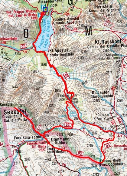 Seekofel (2810 m) vom Pragser Wildsee