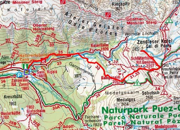 Zendleser Kofel (2422m) aus dem Villnösser Tal