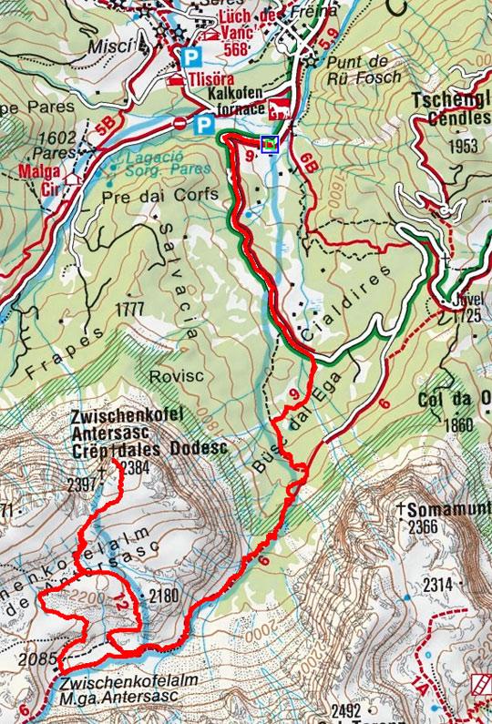 Zwölferkofel (2397 m) von Campill