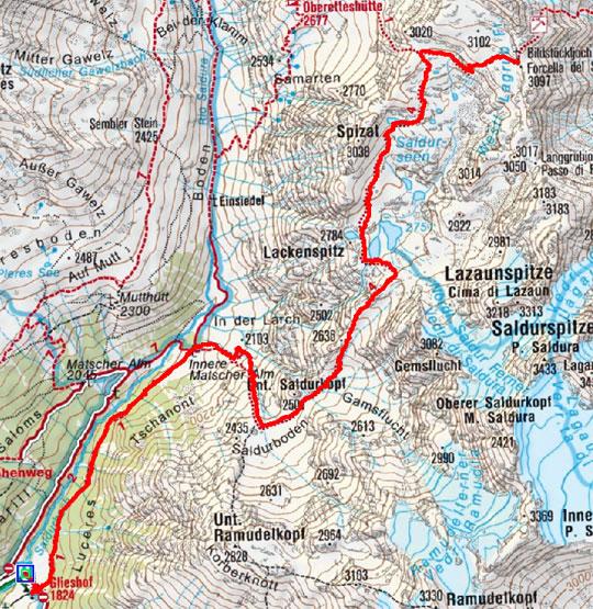 Bildstöckljoch (3097 m) vom Almhotel Glieshof