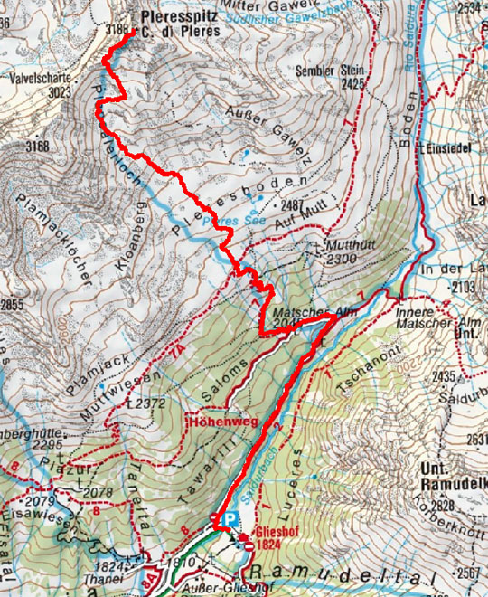 Pleres Spitze (3188 m) vom Almhotel Glieshof