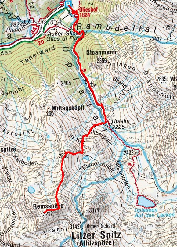 Rems Spitze (3212 m) vom Almhotel Glieshof