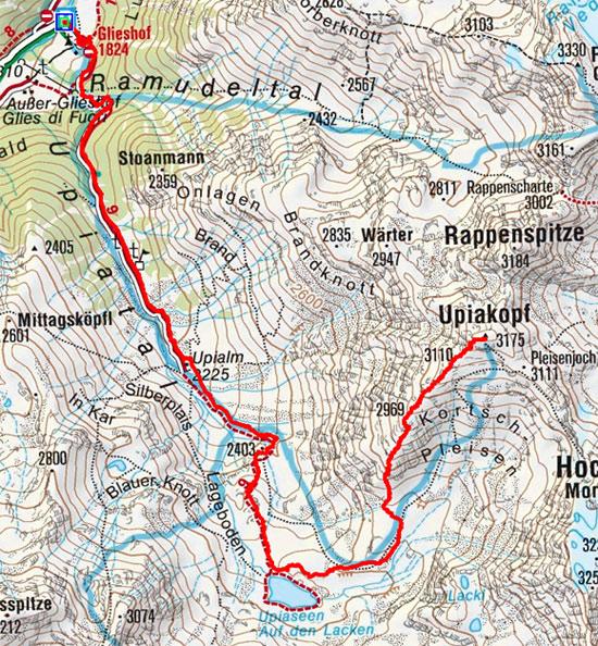 Upikopf (3175 m) vom Almhotel Glieshof