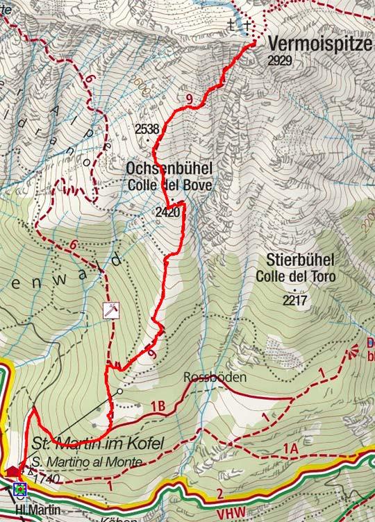 Vermoispitze (2929 m) von St. Martin im Kofel