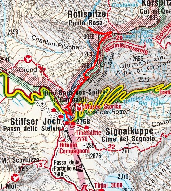Rötlspitze (3026 m) vom Stilfser Joch