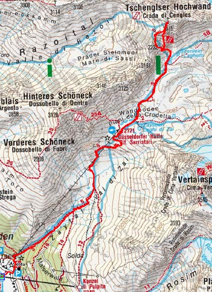 Tschengelser Hochwand-Klettersteig (3375 m) von der Düsseldorfer Hütte