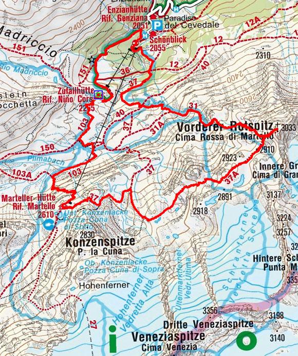 Vordere Rotspitze (3033 m) aus dem Martelltal