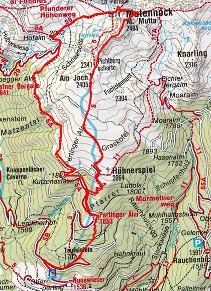 Mutennock (2484 m) vom Parkplatz Pertinger Alm