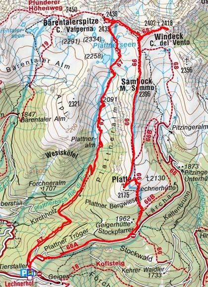 Sambock-Plattnerspitze Rundtour (2396/2439 m) von Platten