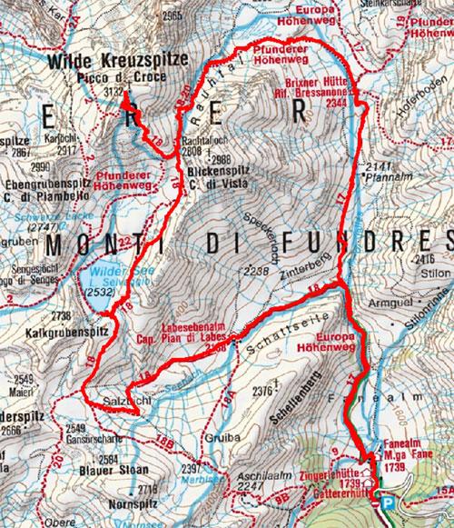 Wilde Kreuzspitze (3132 m) von der Fanealm