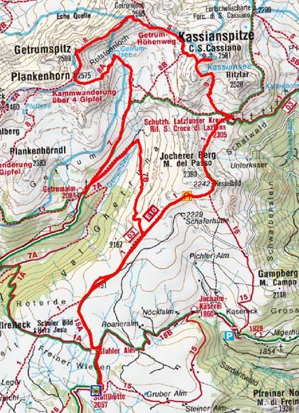 Getrumspitze-Kassianspitze (2569/2581 m) von der Stöffl Hütte