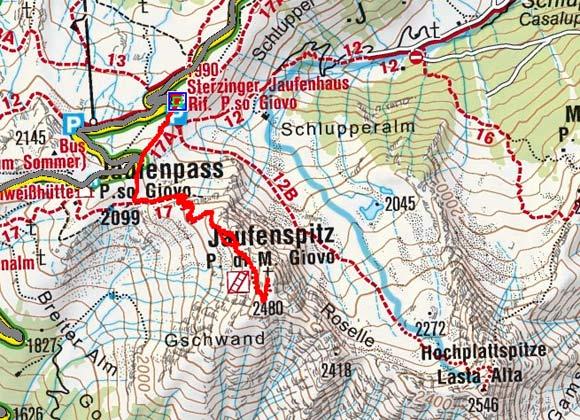 Jaufenspitze (2480 m) vom Jaufenhaus