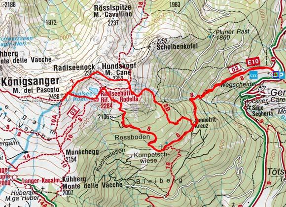 Königsanger (2436 m) vom Parkplatz Perlungerhof