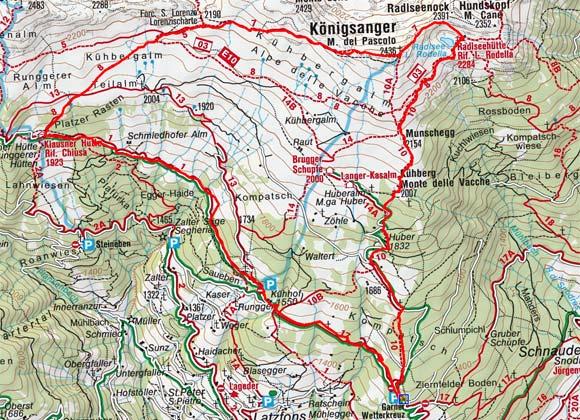 Königsanger (2436 m) vom Garner Wetterkreuz