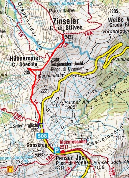 Zinseler-Hühnerspiel (2357/2422 m) vom Penserjoch