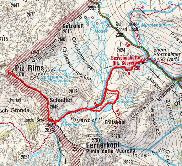 Piz Rims und Schadler (3070/2948 m) von der Sesvennahütte