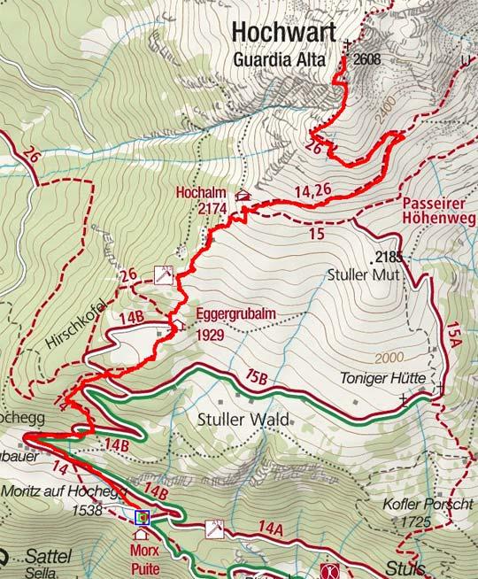 Hochwart, 2608 m - Bergtour von Stuls