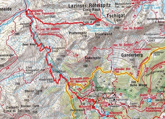 Latzinser Rötelspitze (3037 m) von Partschins