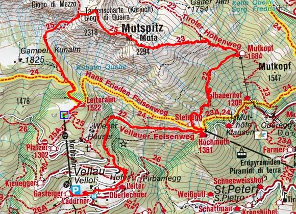 Mutspitz (2294 m) - Vellauer Felsenweg