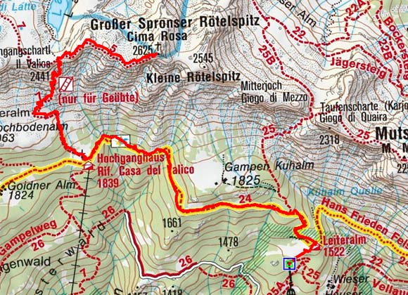 Spronser Rötelspitz (2625 m) von der Leiteralm