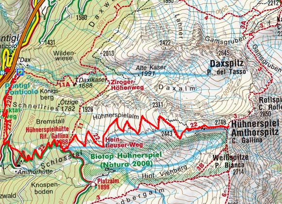 Amthorspitze (2748 m) von Pontiggl vom Parkplatz Dachs