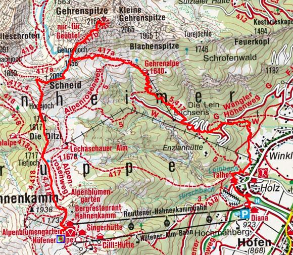 Schneidspitze-Gehrenspitze (2009/2163 m) von der Hahnenkammbahn