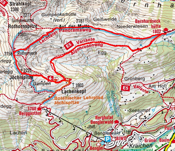 Joechelspitze-Rundtour (2226 m) von der Bernhardseck Hütte