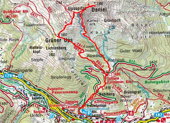 Daniel und Uppsspitze (2340/2332 m) von Lermoos