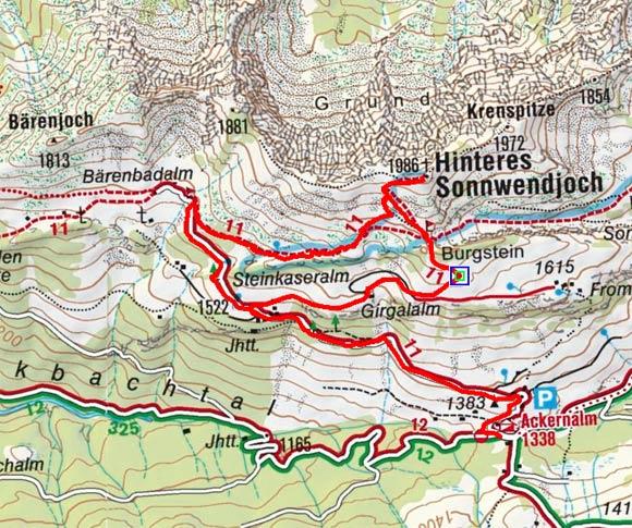 Hinteres Sonnwendjoch (1986 m) von der Ackernalm