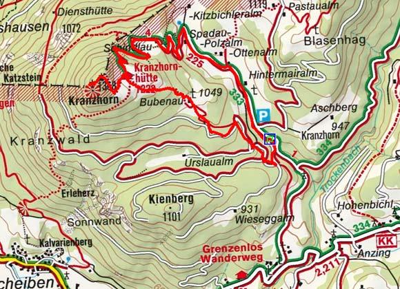 Kranzhorn (1368 m) vom Erler Berg