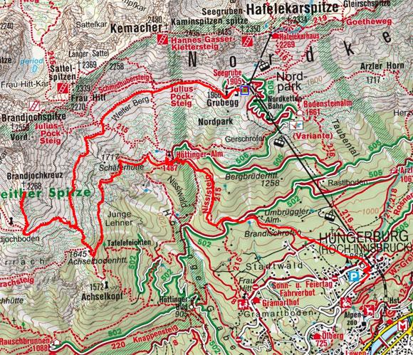 Brandjochkreuz (2268 m) von der Seegrube