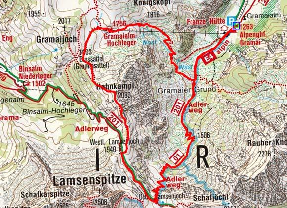 Hahnkampl (2080 m) von der Gramaialm