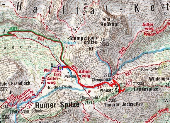 Pfeiser Spitze (2347 m) von der Pfeishütte